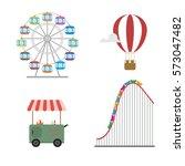 amusement park concept. roller... | Shutterstock .eps vector #573047482