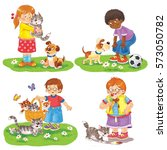small set of cute kids with... | Shutterstock . vector #573050782