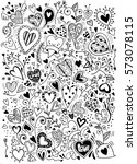 sketchy love and hearts doodles ... | Shutterstock .eps vector #573078115