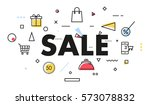 sale poster with geometric... | Shutterstock .eps vector #573078832