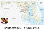 maryland federal state road map ... | Shutterstock .eps vector #573081916