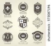 luxurious heraldic emblems and... | Shutterstock .eps vector #573087196