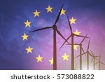 wind turbines on the background ... | Shutterstock . vector #573088822
