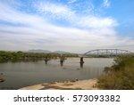 train bridge over river in san... | Shutterstock . vector #573093382