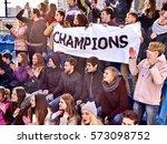 fans cheering in stadium... | Shutterstock . vector #573098752