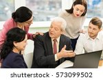 how the work is done. senior... | Shutterstock . vector #573099502