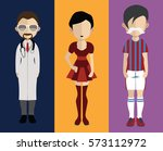 set of people icons in flat... | Shutterstock .eps vector #573112972