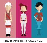 set of people icons in flat... | Shutterstock .eps vector #573113422