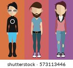set of people icons in flat... | Shutterstock .eps vector #573113446