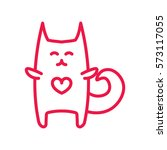 cat hug thin line red icon on... | Shutterstock .eps vector #573117055