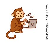 Monkey Typing On Computer ...
