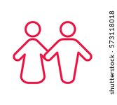 couple thin line red icon on... | Shutterstock .eps vector #573118018