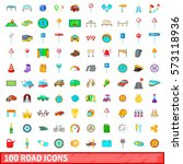 100 road icons set in cartoon... | Shutterstock .eps vector #573118936