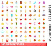 100 birthday icons set in... | Shutterstock .eps vector #573118996