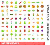 100 farm icons set in cartoon... | Shutterstock .eps vector #573119026