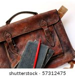 Close up of vintage schoolbag with pen and notes - stock photo