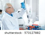 into science. senior male... | Shutterstock . vector #573127882