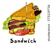 painted sandwich with bread... | Shutterstock . vector #573129736