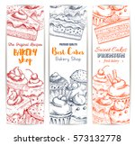 bakery  pastry sweets and... | Shutterstock .eps vector #573132778