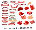 meat products icons and vector... | Shutterstock .eps vector #573133228