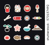 japan icons  stickers. japanese ... | Shutterstock .eps vector #573157492