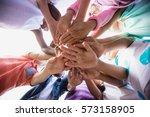 focus on kids hands during a...   Shutterstock . vector #573158905