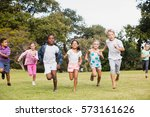 kids playing together during a... | Shutterstock . vector #573161626
