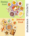 lunch with dessert icon set of... | Shutterstock .eps vector #573163672