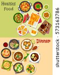 lunch and dinner icon set with... | Shutterstock .eps vector #573163786
