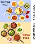 tasty dishes for dinner icon...   Shutterstock .eps vector #573163822