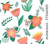 seamless floral pattern.... | Shutterstock . vector #573164305