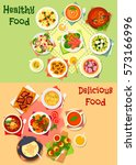 healthy dishes with dessert for ... | Shutterstock .eps vector #573166996