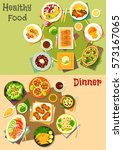 main dishes with appetizers...   Shutterstock .eps vector #573167065