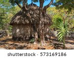 a bamboo thatched home  mayan...