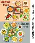 lunch dishes icon with top view ... | Shutterstock .eps vector #573169636