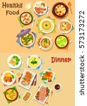 healthy food for lunch icon set ... | Shutterstock .eps vector #573173272