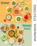 healthy lunch and dinner icon... | Shutterstock .eps vector #573173302