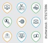 set of 9 business management... | Shutterstock .eps vector #573173386