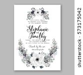 anemone wedding invitation card ... | Shutterstock .eps vector #573175042
