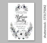 anemone wedding invitation card ... | Shutterstock .eps vector #573175042