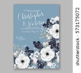 anemone wedding invitation card ... | Shutterstock .eps vector #573175072
