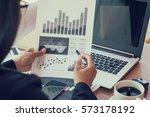 close up of woman hands using... | Shutterstock . vector #573178192