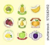 vector fruits badges. | Shutterstock .eps vector #573182452