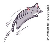 Cute And Funny Grey Cat Jumpin...