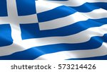 greece flag. waving colorful... | Shutterstock . vector #573214426