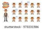 big set of cowboy emoticons.... | Shutterstock .eps vector #573231586