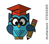 owl with graduation hat vector... | Shutterstock .eps vector #573242305
