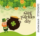 saint patricks day leprechaun carrying big pot coins golden lettering poster