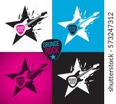 rock star logo  electric guitar ... | Shutterstock .eps vector #573247312
