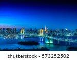 tokyo skyline with tokyo tower... | Shutterstock . vector #573252502